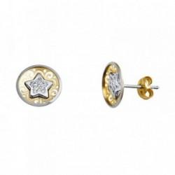 Pendientes oro 18k bicolor calados estrella circonitas [AA5617]