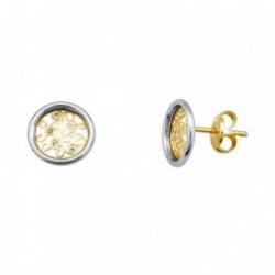 Pendientes oro 18k bicolor caracolas circonitas 0.8mm. [AA5624]