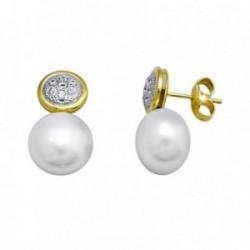 Pendientes oro 18k perla 10.5mm. botón circonitas [AA5642]