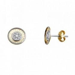 Pendientes oro 18k bicolor greca circonitas [AA5653]