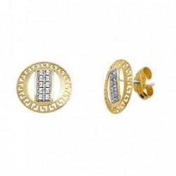Pendientes oro 18k bicolor greca circonitas [AA5654]
