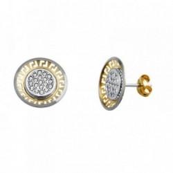 Pendientes oro 18k bicolor greca circonitas [AA5655]