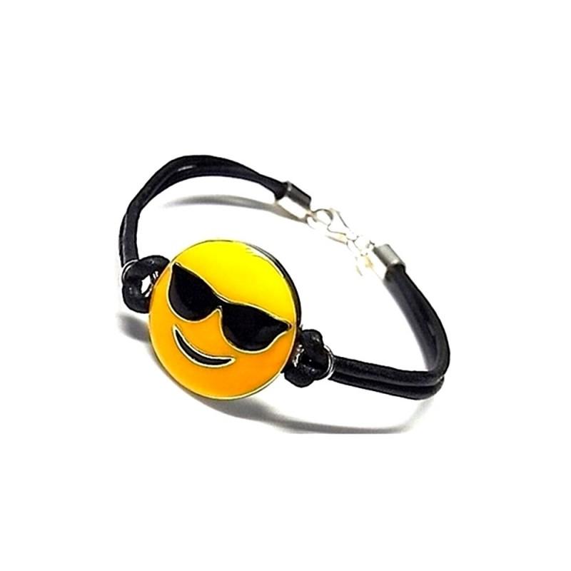 Pulsera plata ley 925m emoticono esmaltado gafas sol cuero - Emoticono gafas de sol ...