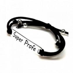 Pulsera plata ley 925m lisa chapa SUPER PROFE letras [AA9937GR]