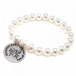 Pulsera plata ley 925m GRACIAS POR SER MI PROFE perlas [AA9960]