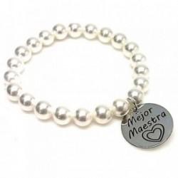 Pulsera plata ley 925m perlas disco 21mm. MEJOR MAESTRA  [AA9961GR]