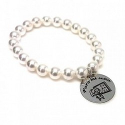 Pulsera plata ley 925m perlas disco 21mm. PARA MI SEÑO  [AA9962]
