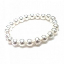 Pulsera goma elástica perlas shell 8mm. mujer