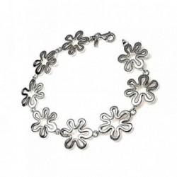 Pulsera plata ley 925m lisa flores caladas [AB0013]