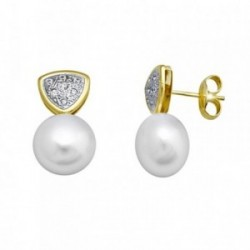 Pendientes oro 18k perla 10.5mm. botón circonitas [AA5749]