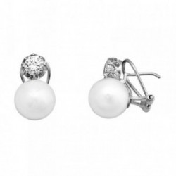 Pendientes oro blanco 18k perla 11.5mm. cultivada circonita [AA5840]