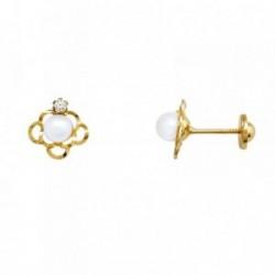 Pendientes oro 18k perla 4mm. cultivada bandas circonita [AA5944]