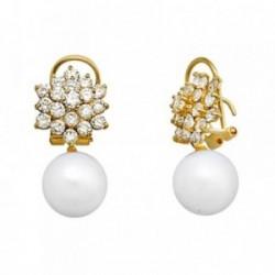 Pendientes oro 18k perla cultivada cuajo circonitas [AA6007]