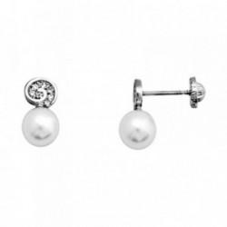 Pendientes oro blanco 18k perla cultivada 6mm. circonitas [AA6026]