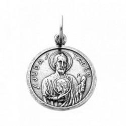 Medalla plata ley 925m oxidada San Judas Tadeo 17mm. circular [AB0545]