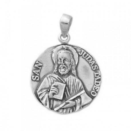 Medalla colgante plata ley 925m San Judas Tadeo 27mm. [AB0702GR]