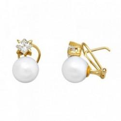 Pendientes oro 18k perla 10mm. cultivada circonita 4.5mm. [AA6075]