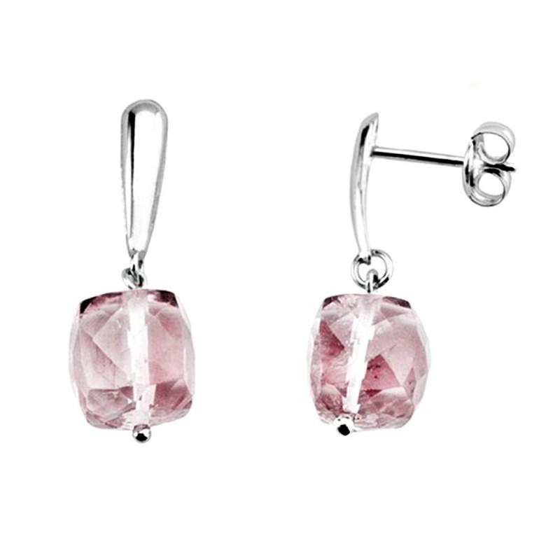 0129e8e931aa Pendientes oro blanco 18k largos piedra rosa  AA6097