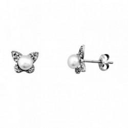 Pendientes oro blanco 18k mariposa circonitas perla 4.5mm [AA6140]