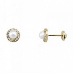Pendientes oro 18k centro perla cultivada circonitas [AA6155]