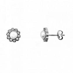 Pendientes oro blanco 18k centro perla cultivada circonitas [AA6157]