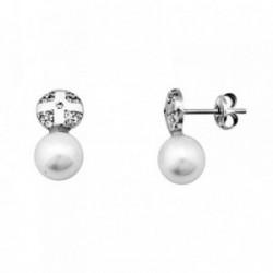 Pendientes oro blanco 18k perla 6mm. cultivada circonitas [AA6189]