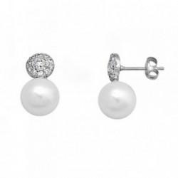 Pendientes oro blanco 18k perla cultivada círculo circonitas [AA6197]