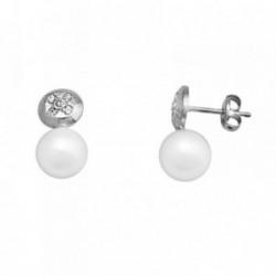 Pendientes oro blanco 18k perla cultivada círculo circonitas [AA6205]