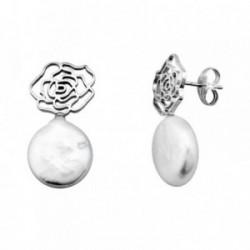 Pendientes oro blanco 18k perla 10-11mm. coin rosa calada [AA6217]