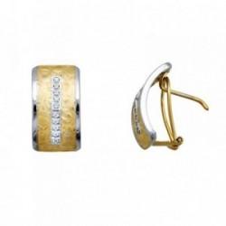 Pendientes oro 18k ancho banda circonitas [AA6239]