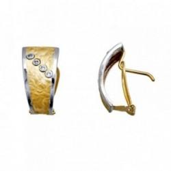 Pendientes oro 18k bicolor chapa circonitas [AA6252]