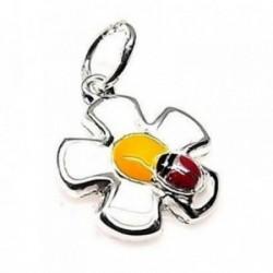 Colgante plata ley 925m liso mariquita flor esmaltado [AB0570]