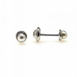 Pendientes plata ley 925m perla casquita 3mm. [AB0636]
