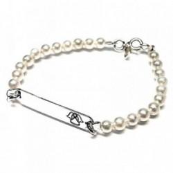 Pulsera plata ley 925m esclava angelito perla chapa 30mm. [AB0678]