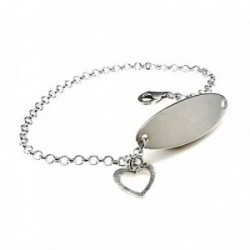 Pulsera plata ley 925m chapa 30mm. corazón colgando 10mm. [AB0279]