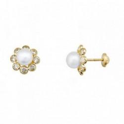 Pendientes oro 18k flor circonitas centro perla [AA6283]