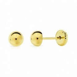 Pendientes oro 18k media bola lisa 4mm. [AB0712]
