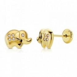 Pendientes oro 18k elefante 9mm. circonitas [AB0713]