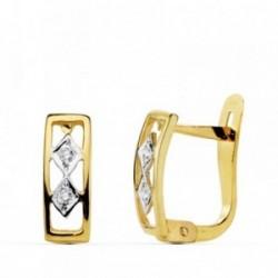 Pendientes oro bicolor 18k centro rombos 10mm. circonitas borde calados primera comunión niña