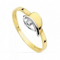 Sortija oro 18k bicolor detalle centro calado circonita primera comunión niña