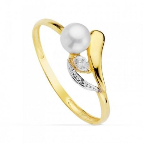 Sortija oro bicolor 18k ancho 1.5mm. perla 4.5mm. circonita primera comunión niña