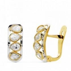 Pendientes oro 18k piedras pera bicolor 14mm.  [AB0745]