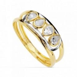 Sortija oro bicolor 18k piedras circonitas pera bandas caladas primera comunión niña