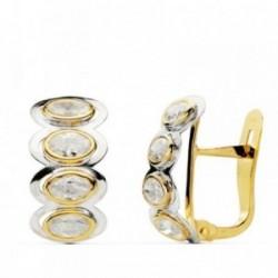 Pendientes oro 18k piedras oval bicolor 15mm. [AB0747]