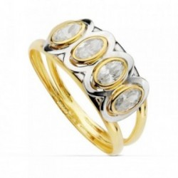 Sortija oro bicolor 18k piedras circonitas oval bandas ancho cuerpo 4mm. primera comunión niña