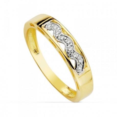 Sortija oro 18k bicolor banda curva circonitas rectangular ancho 3mm. calado niña primera comunión