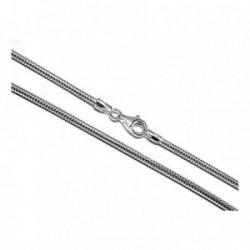 Cadena plata ley 925m lisa 50cm. topo verdadera 2.40mm. [AB0420]