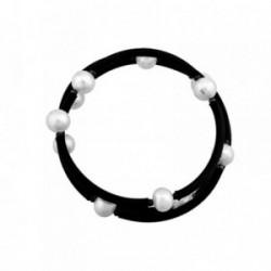 Pulsera plata Ley 925m. caucho triple perlas cultivadas [AA6638]