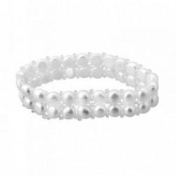 Pulsera elástica dos filas perlas cultivadas botón [AA6672]