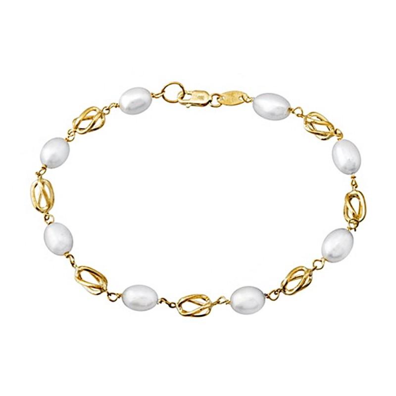 5e2928ca6915 Pulsera oro 18k eslabones jaula perlas primera comunión  AA6714